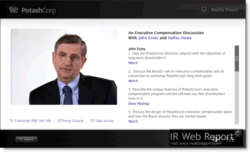 PotashCorp director J Estey discusses the company's compensation policies in a video