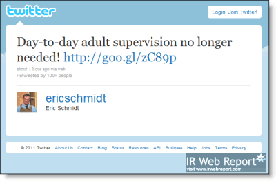 Eric Schmidt tweet: day-to-day adult supervision no longer needed