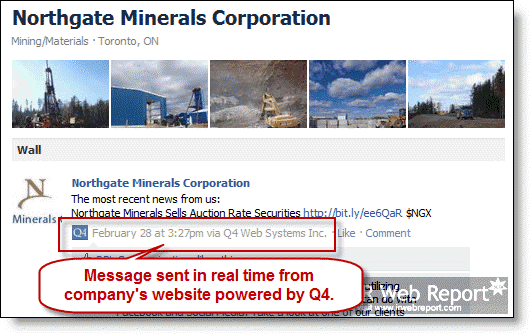 A Facebook message sent to Facebook in real time via Q4 API integration.