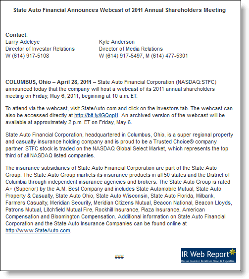State Auto Financial release April 28, 2011