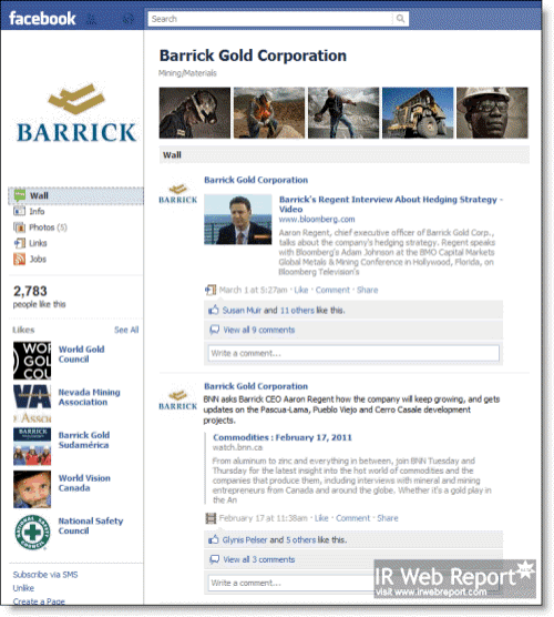 Barrick Gold Corporation Facebook page