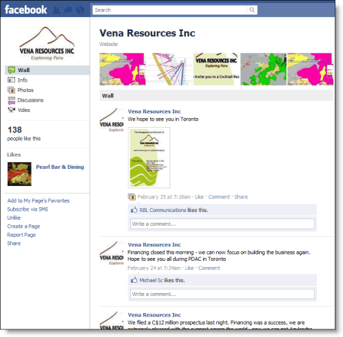 Vena Resources Inc. Facebook page