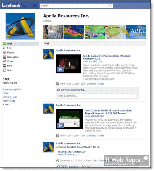 Apella Resources Inc. Facebook Page
