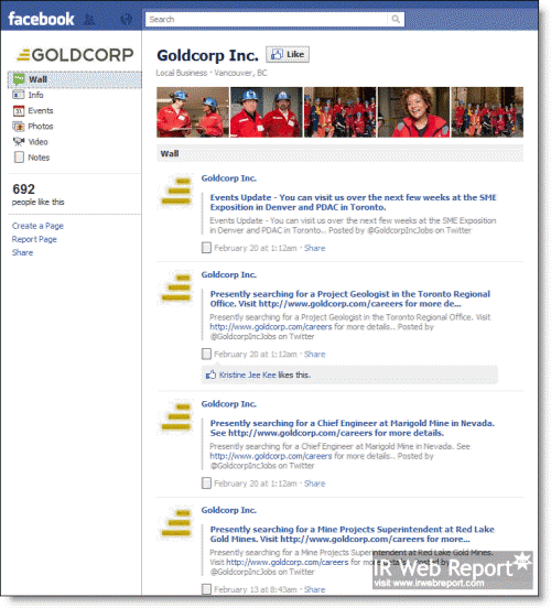 Goldcorp Inc. Facebook Page