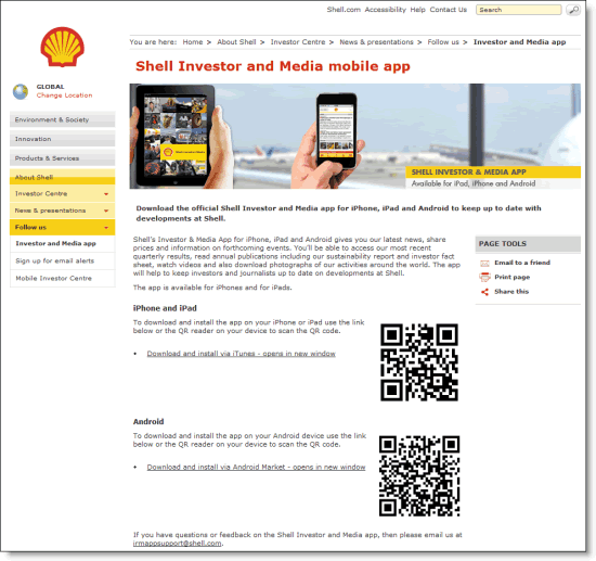 Shell website