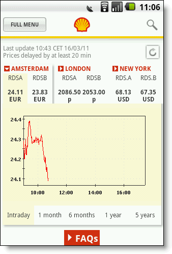 Shell Investor and Media Android app screenshot
