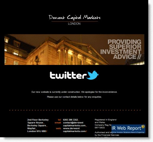 Derwent Capital Markets Website