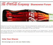 At Coca-Cola, investors get less say than Facebook fans