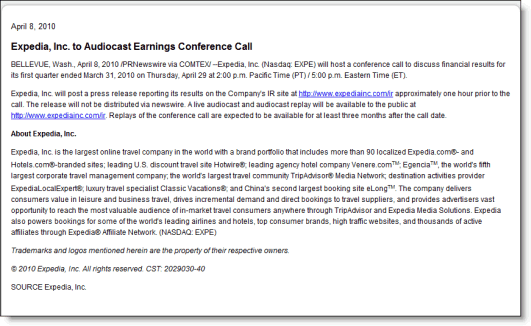 Expedia's first advisory about its upcoming earnings