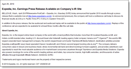 Expedia's second advisory telling investors the results information has been posted.