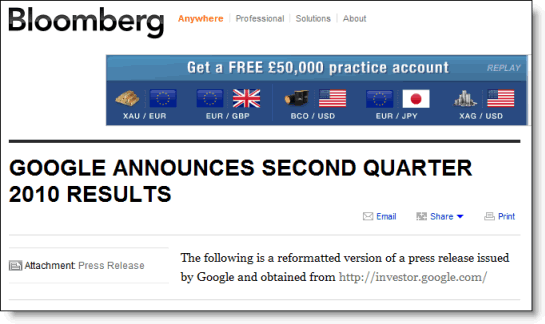 Bloomberg picked up the release and presentation from Google's website and distributed them to subscribers.