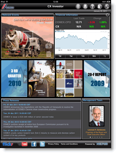 Cemex investor relations app for iPad