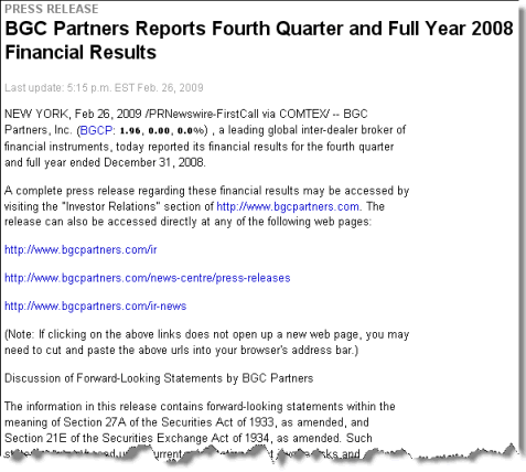 Screenshot of Notice and access earnings release issued by BGC Partners in February 2009