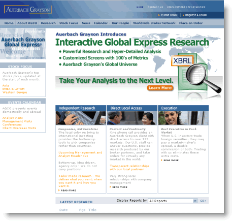 Auerbach Grayson advertises its new library of XBRL enabled research reports on its website.