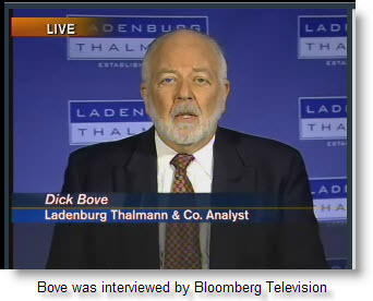 Bove was interviewed by Bloomberg TV, click to view