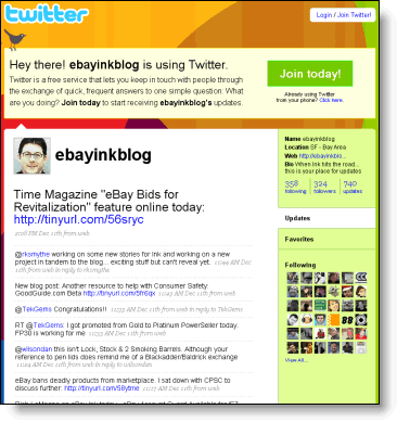 Twitter is a big part of Ebay's blogging presence