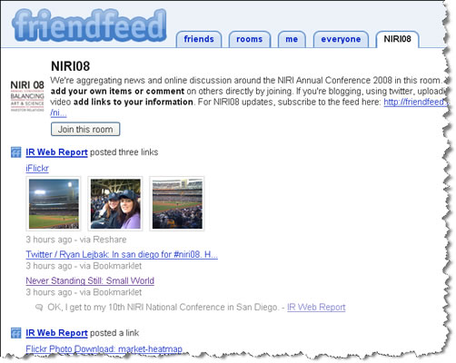 FriendFeed room for NIRI08