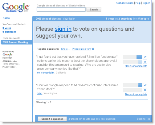 Google's shareholder meeting question forum uses Google Moderator