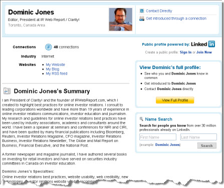 Dominic's LinkedIn profile