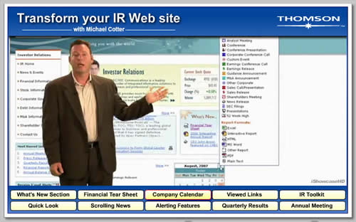 Thomson's IR website launch includes a video overview