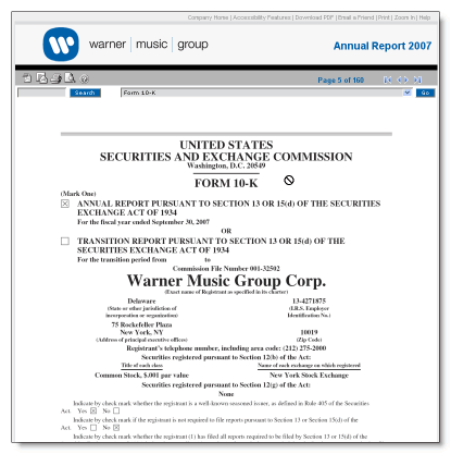 Warner Goup image-based annual report 2007