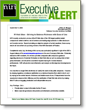 NIRI's Executive Alert on IR websites