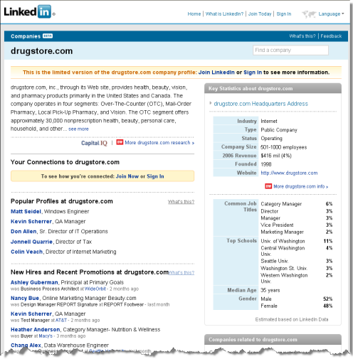 Screenshot of LinkedIn public company page