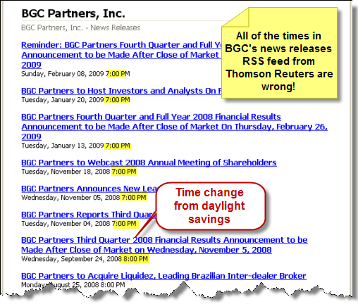 Screenshot: All of the times in BGC's news release RSS feed indicate 7:00 pm, which is not the correct times.