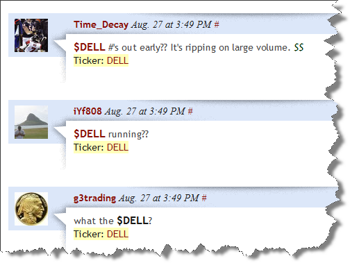Messages on StockTwits about abnormal trading in Dell's shares