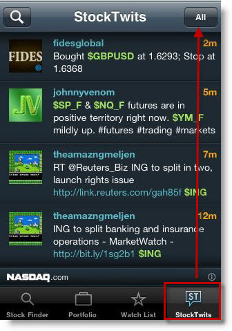 "StockTwits' ""All"" stream on NASDAQ's iPhone App"